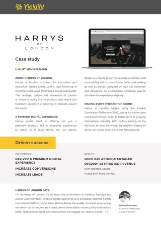 Yieldify case study - Harrys of London