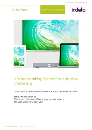 White paper: A watermarking system for adaptive streaming
