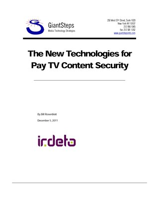White paper: The new technologies for pay TV content security