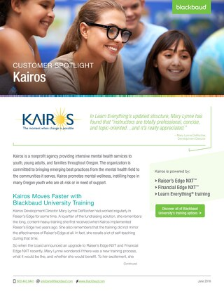 Kairos Moves Faster With Blackbaud University Training