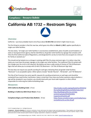 California AB 1732 Single-User Restroom Signs