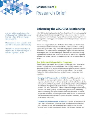 Enhancing the CSO CFO Relationship