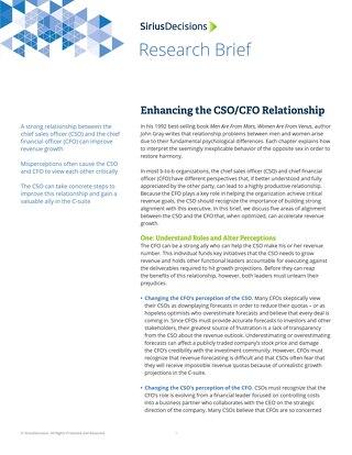 Enhancing the CSO CFO Relationship