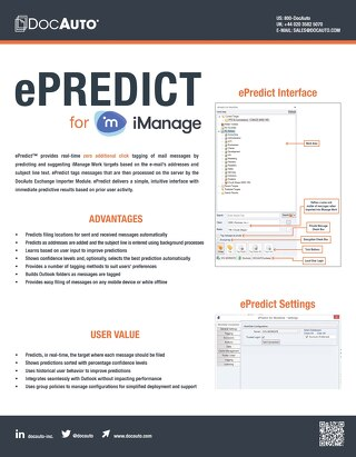 Datasheet: ePredict for iManage Work