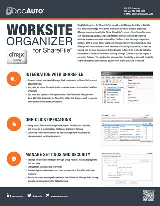 Datasheet: WorkSite Organizer for Citrix ShareFile