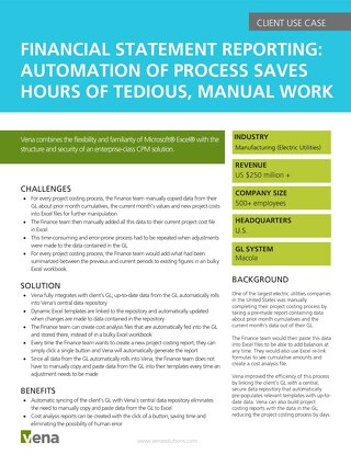 Client Use Case - Financial Statement Reporting Automation of Process Saves Hours of Tedious Manual Work