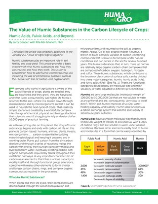 The Value of Humic Substances in the Carbon Lifecycle of Crops