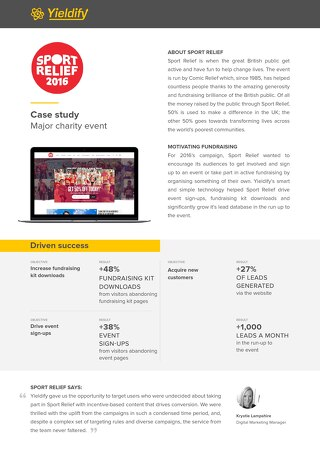 Yieldify case study - Sport Relief
