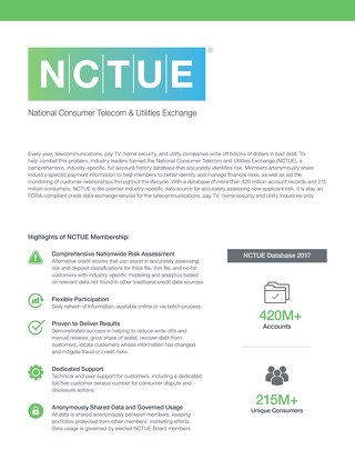 NCTUE Product Sheet