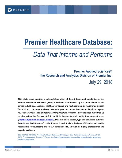Premier Healthcare Database Whitepaper