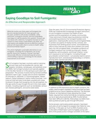 Saying Goodbye to Soil Fumigants