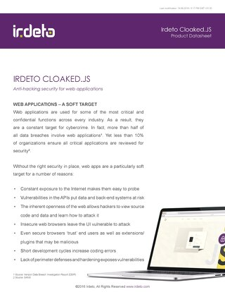Datasheet: Irdeto Cloaked.JS - Anti-hacking security for web applications