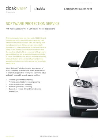 Datasheet: Cloakware for Automotive - Software Protection Service