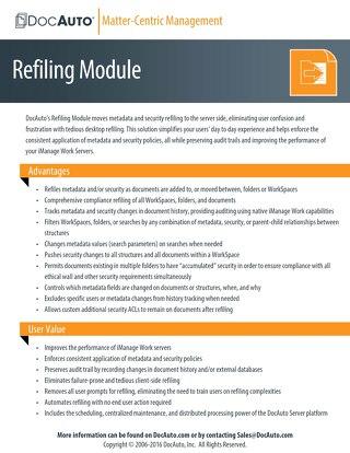DocAuto Refiling Module datasheet