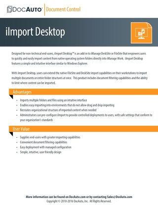 DocAuto iImport Desktop datasheet
