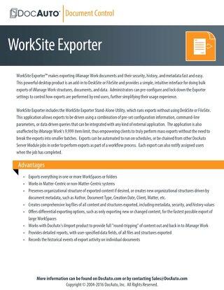 DocAuto WorkSite Exporter datasheet