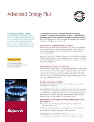 Advanced Risk Score for Utilities Product Sheet