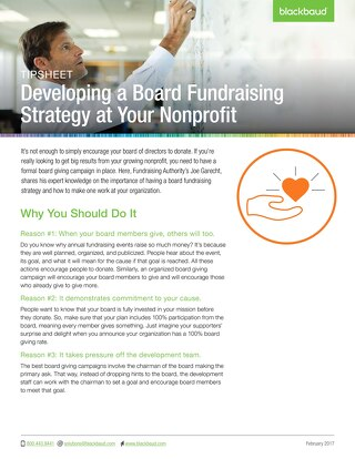 Tip Sheet: Developing a Board Fundraising Strategy