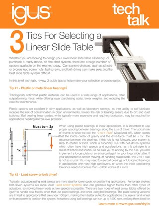 3 Tips for Selecting a Linear Slide Table