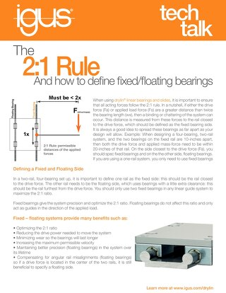 The 2:1 Rule and Defining Fixed/Floating Bearings