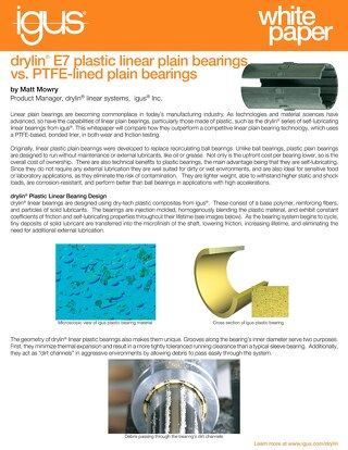 drylin® E7 vs PTFE-lined Linear Bearings