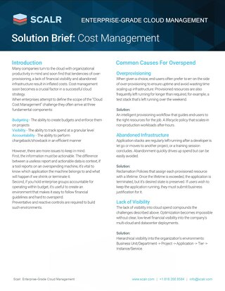 SCALR Solution Brief: Cost Management