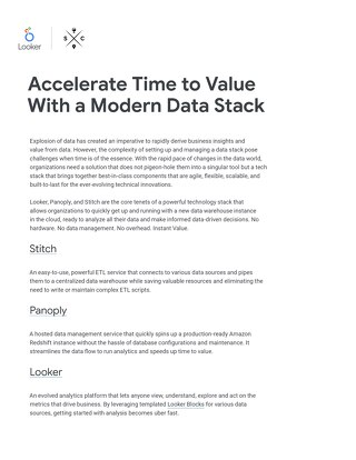 Accelerate Time-to-Value with a Modern Data Stack