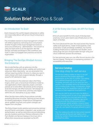 SCALR Solution Brief: DevOps & Scalr