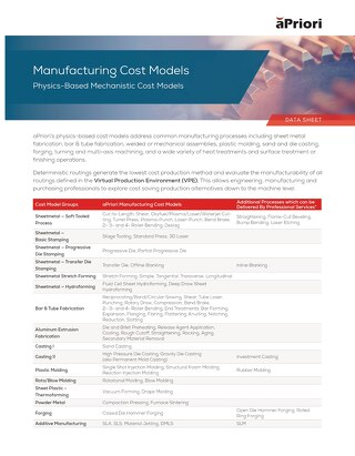 Manufacturing Cost Models