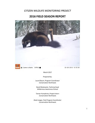2016 CWMP Field Season Report