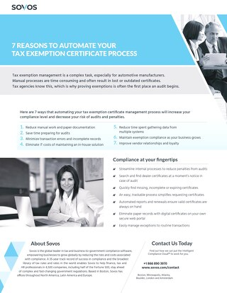 Value of Sales Tax Certificate Management Automation