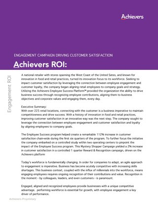CSAT ROI Retail - Achievers Customer Story