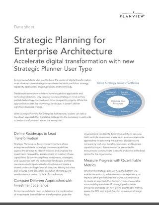 Strategic Planning for Enterprise Architecture