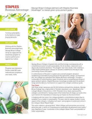 Green Procurement Goals - George Brown College Case Study