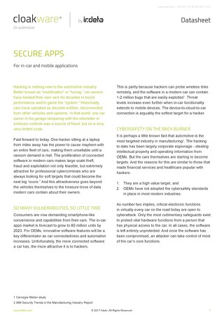 Datasheet: Secure Apps for in-car and mobile applications