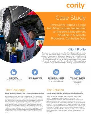 Auto Manufacturer Case Study