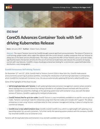 ESG: CoreOS Advances Container Tools With Self-Driving Kubernetes Release