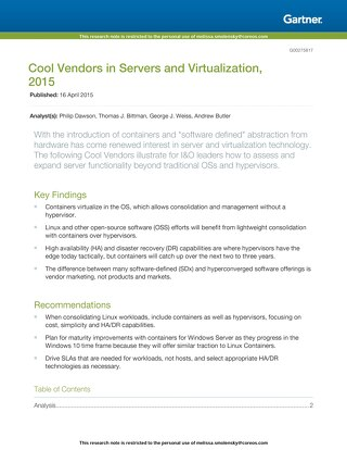 Gartner: Cool Vendors in Servers and Virtualization