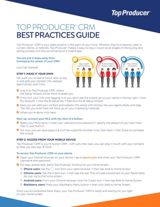 Top Producer Best Practices