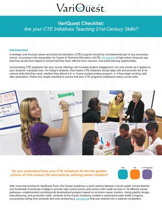 VariQuest Checklist: Are Your CTE Initiatives Teaching 21st Century Skills?