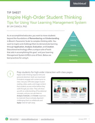 Inspire High-Order Student Thinking Tips for Using Your Learning Management System