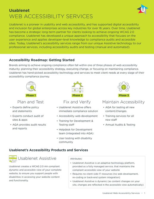 Usablenet Web Accessibility Products and Services