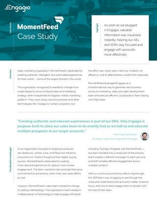 Engagio Case Study | MomentFeed