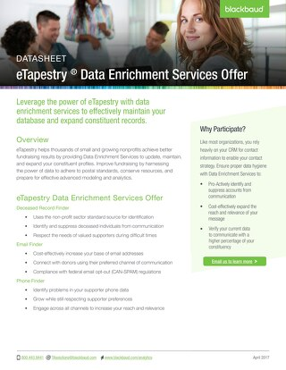 Data Enrichment Services for eTapestry