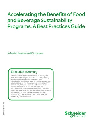 Accelerating the Benefits of Food and Beverage Sustainability Programs A Best Practices Guide