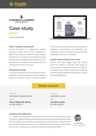 Yieldify case study - Turnbull and Asser