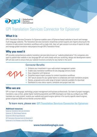 GPI Episerver Connector Brief