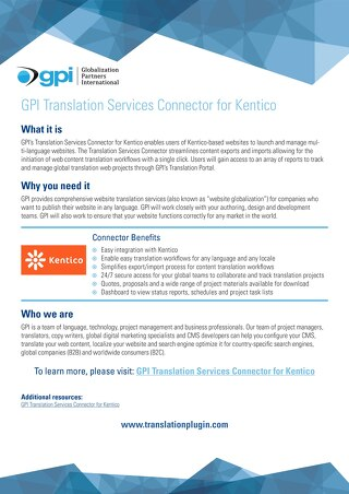 GPI Kentico Connector Brief