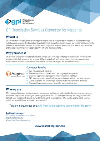 GPI Magento Connector Brief
