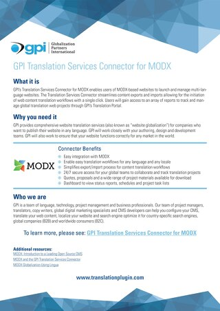 GPI MODX Connector Brief